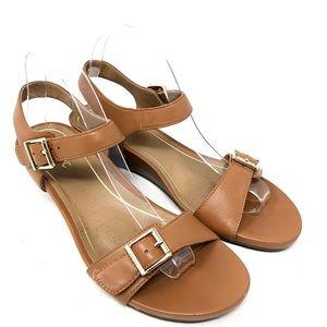 Vionic Frances Tan Leather Wedge Sandals Size 9